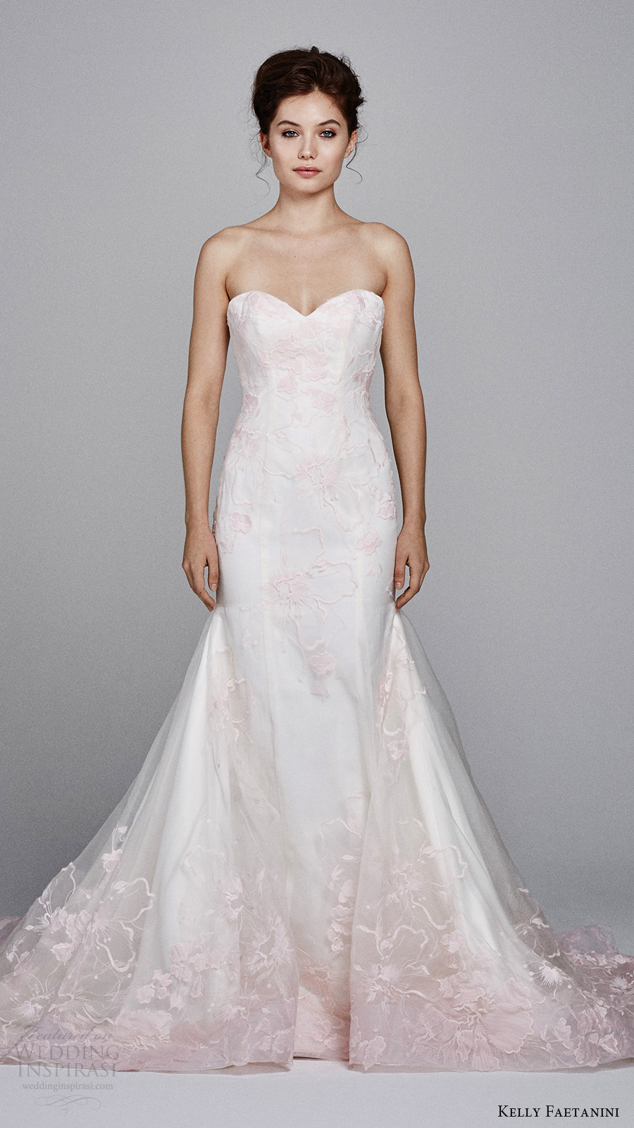 kelly faetanini bridal fall 2017 strapless sweetheart trumpet wedding dress (cherie) mv blush pink embroidery
