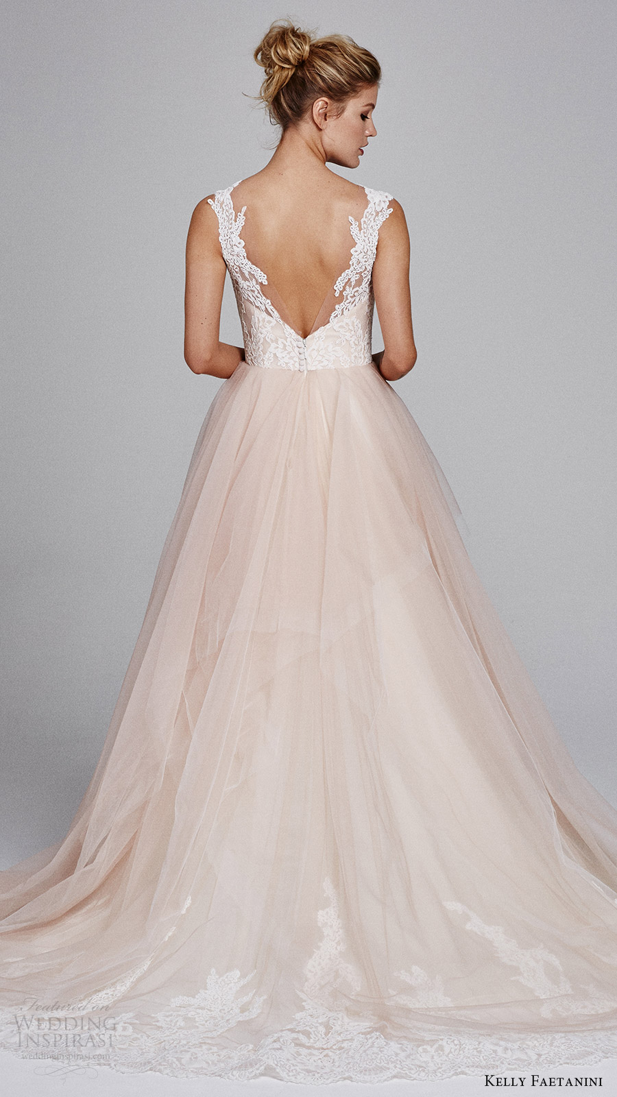 kelly faetanini fall 2017 sleeveless sweetheart lace bodice aline wedding dress (azalea) bv vback blush skirt lace hem train