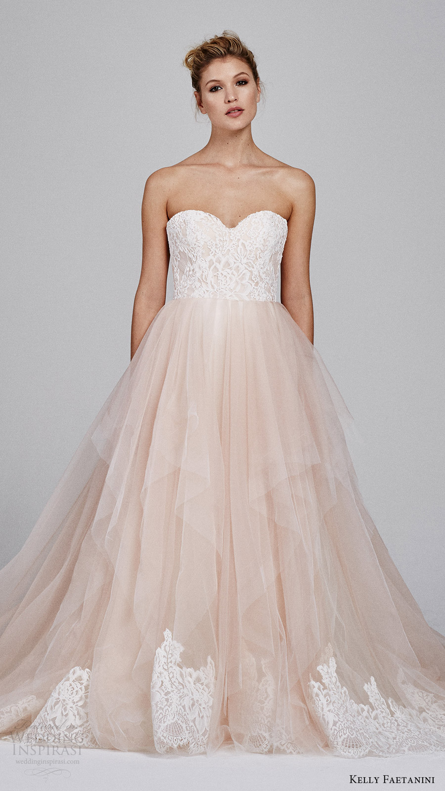 kelly faetanini fall 2017 strapless sweetheart lace bodice aline wedding dress (azalea strapless) mv blush skirt lace hem