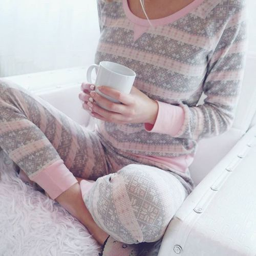 grey and pink pyjamas with long sleeves is comfy for wearing in the fall
