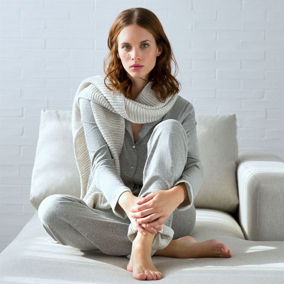 grey cotton pyjamas for comfy wearing at home