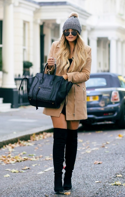 With mini dress, mini coat and beanie