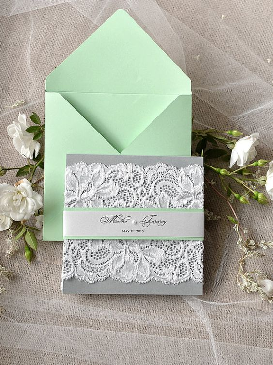 mint and grey lace invitations