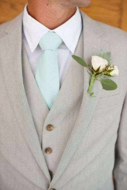 dove grey with a white shirt and a mint tie look very refreshing