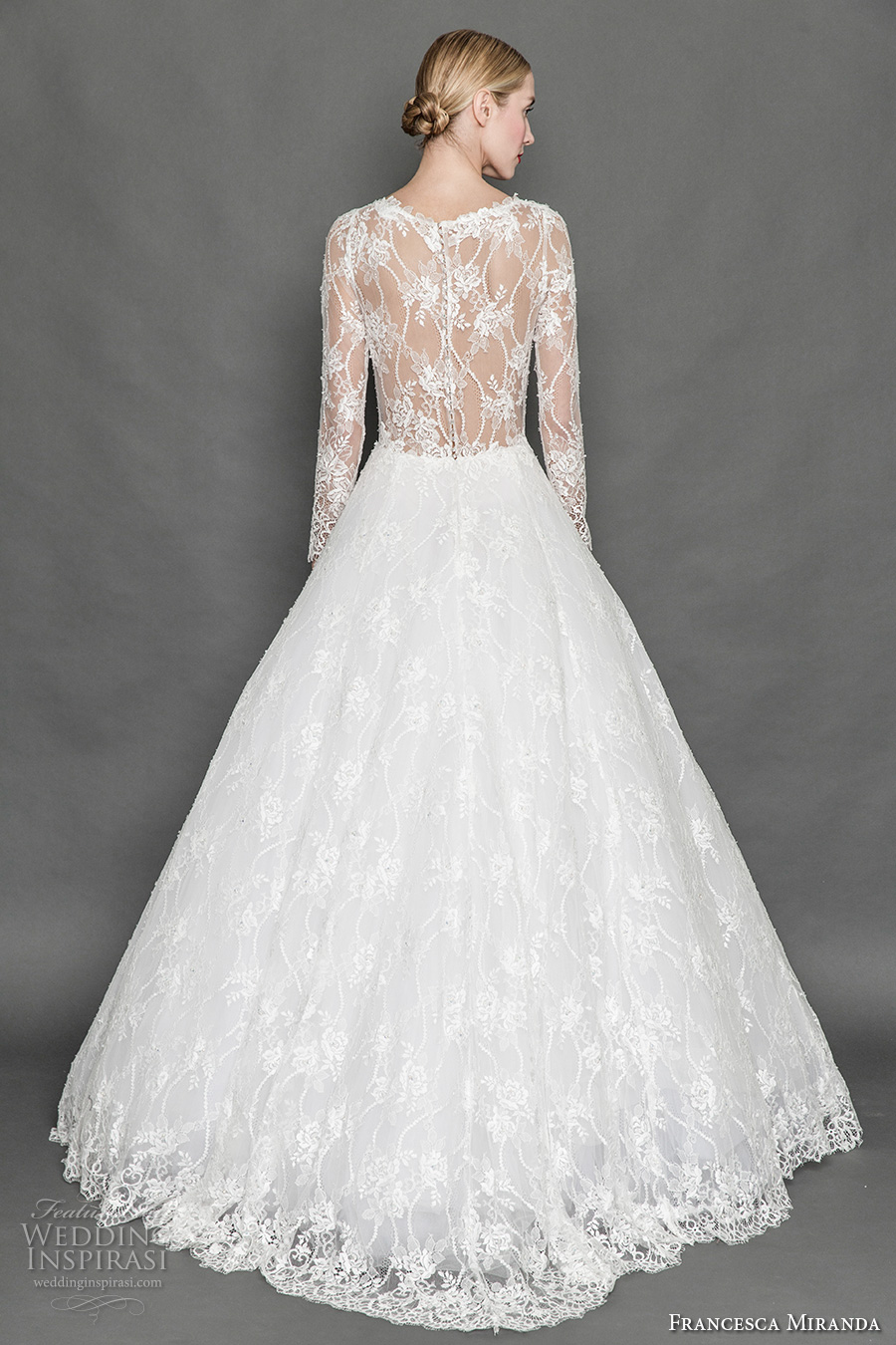 francesca miranda fall 2017 bridal long sleeves scoop neckline heavily embellished bodice lace elegant a line wedding dress illusion back sweep train (belle) bv