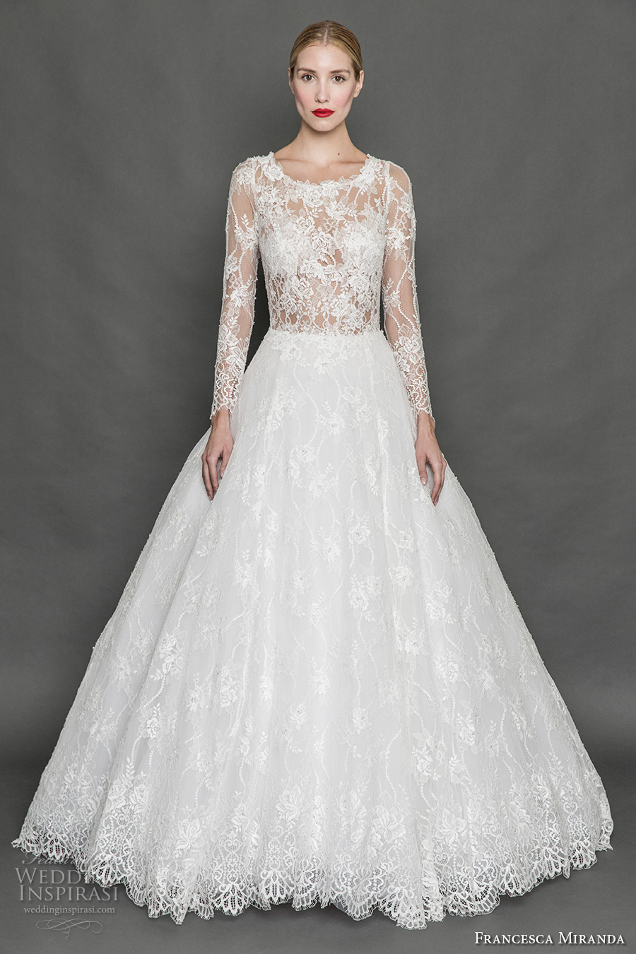 francesca miranda fall 2017 bridal long sleeves scoop neckline heavily embellished bodice lace elegant a line wedding dress illusion back sweep train (belle) mv