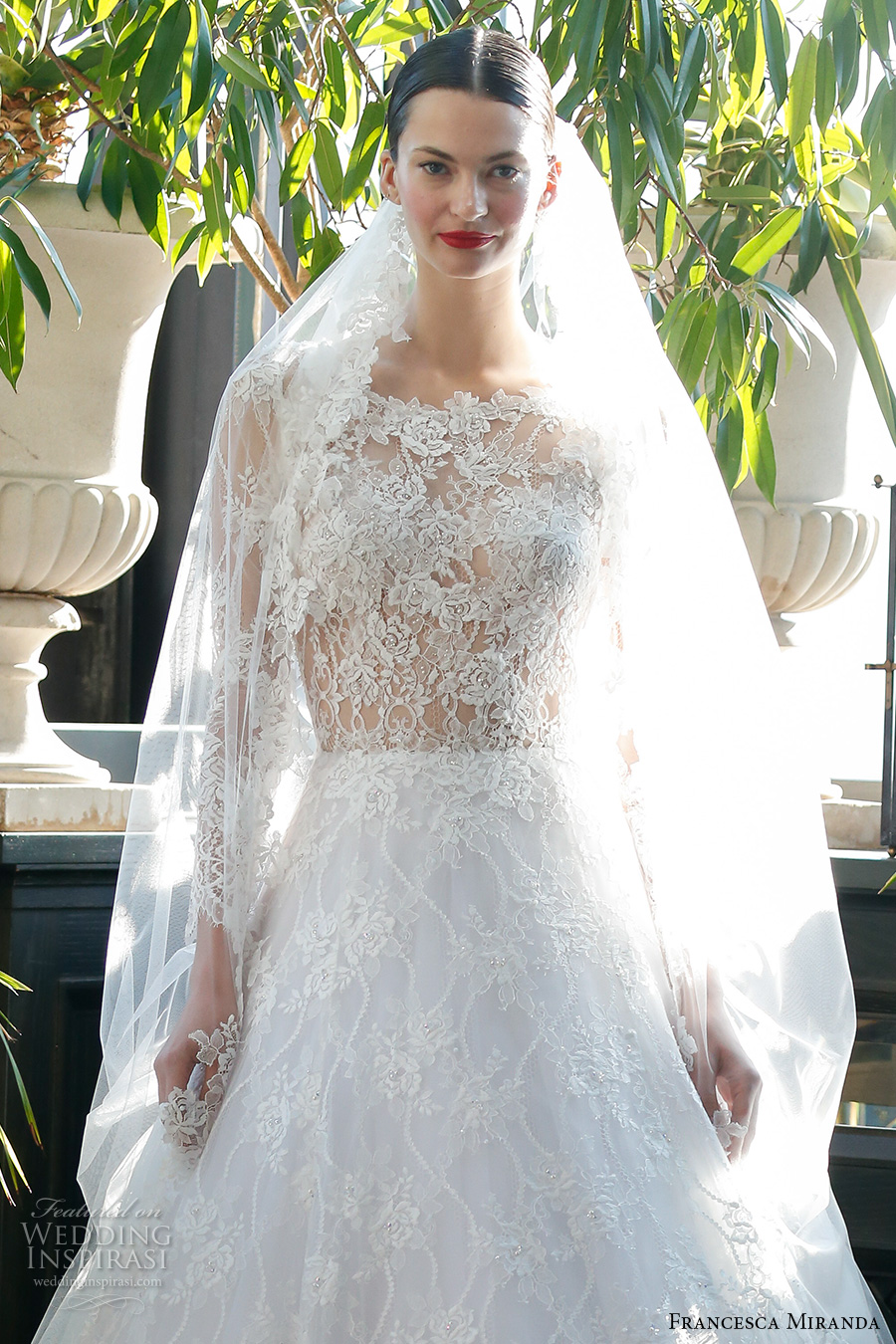 francesca miranda fall 2017 bridal long sleeves scoop neckline heavily embellished bodice lace elegant a line wedding dress illusion back sweep train (belle) zv
