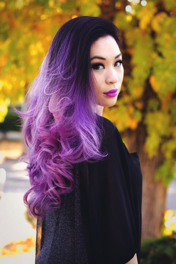 ombre hair from black to bright purple and magenta