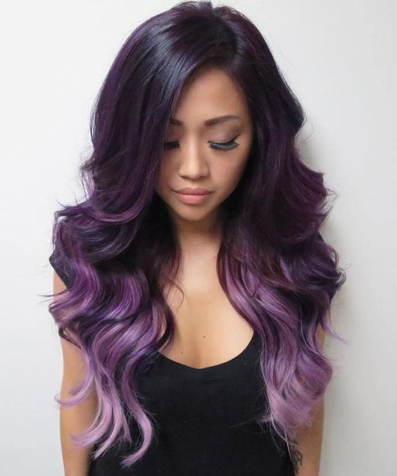 ombre hair from dark purple to light purple and lavender
