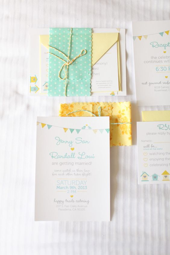 mint and yellow wedding stationery