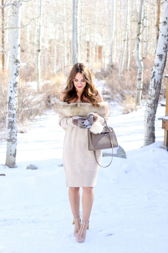 off the shoulder sweater dress with fur and nude heels