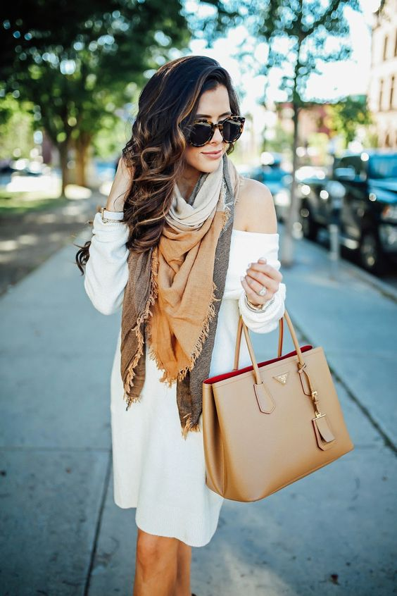 off the shoulder white sweater dress and a blanket scarf