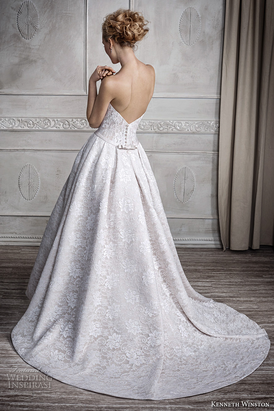 kenneth winston fall 2016 bridal strapless semi sweetheart neckline full embellishment sophiscated beautiful a line wedding dress pockets sweep train (1685) bv