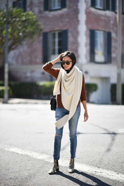 With jeans, shirt and oversized scarf