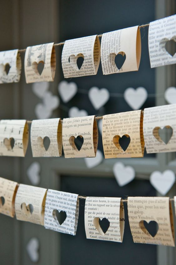 book page bunting with cutout hearts