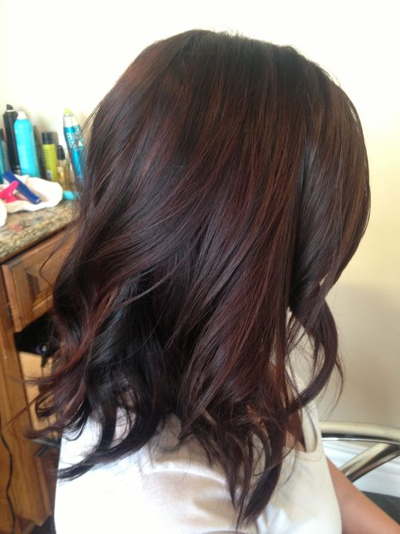 dark brown hair with black cherry highlights