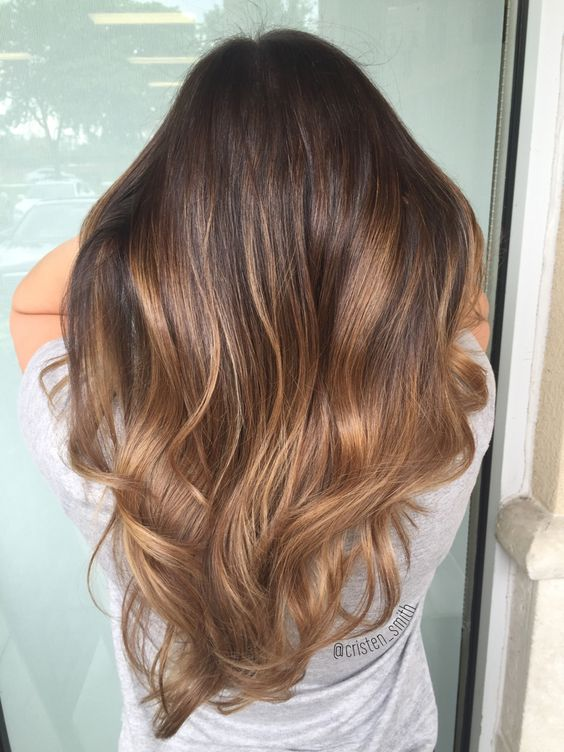 chocolate brown hair with caramel balayage
