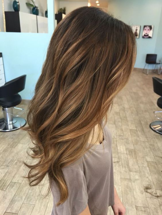 dark and warm brown hair with blonde caramel highlights