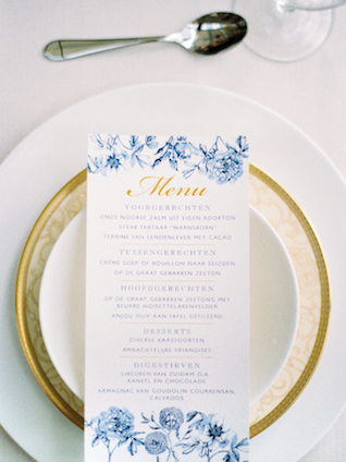 Menu card with blue flowers | Chymo & More