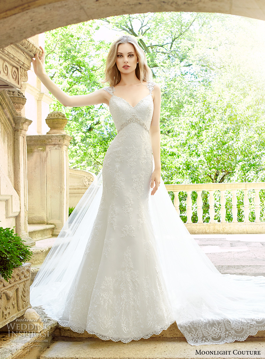 moonlight couture spring 2017 bridal sleeveless embellished strap sweetheart neckline full embellishment elegant fit and flare wedding dress long train (h1324) mv
