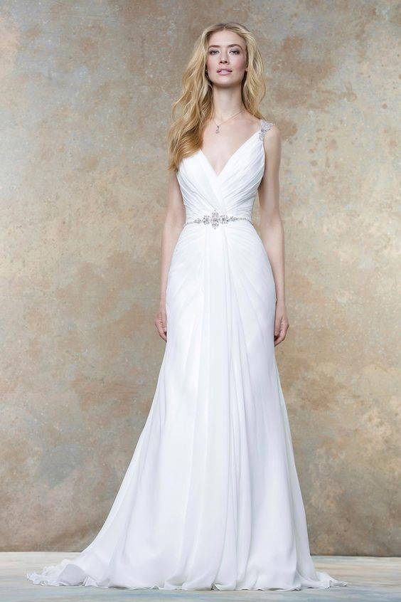 draped wedding dress with embellished straps and a thin beaded belt