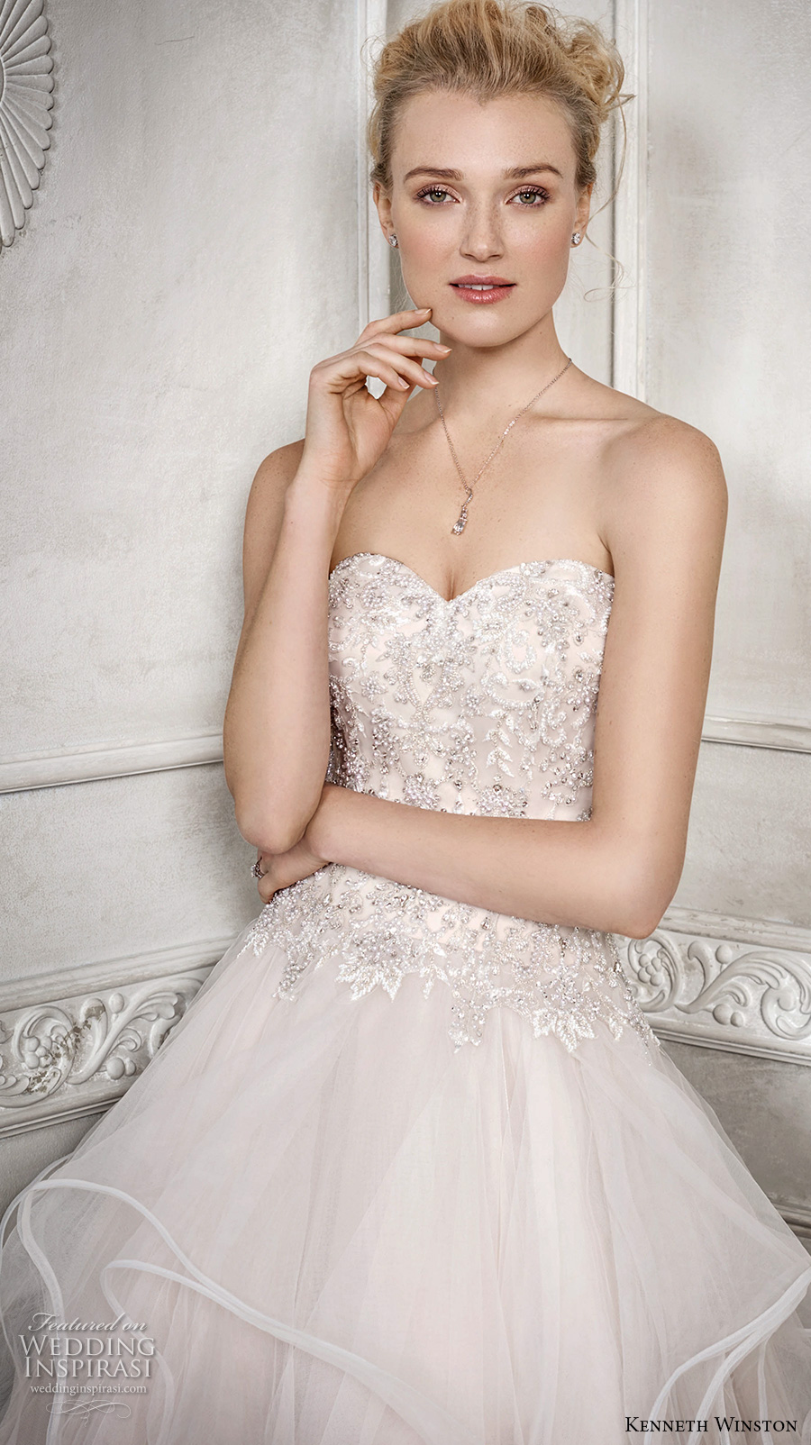 kenneth winston fall 2016 bridal strapless sweetheart neckline heavily embellished bodice tiered skirt horsehair princess blush color a line wedding dress chapel train (1688) zv