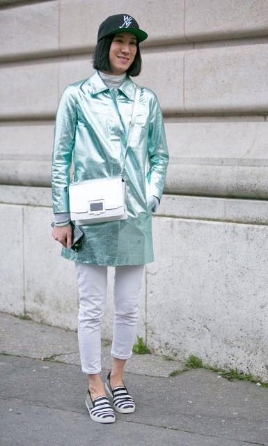 With white crop pants and crossbody bag