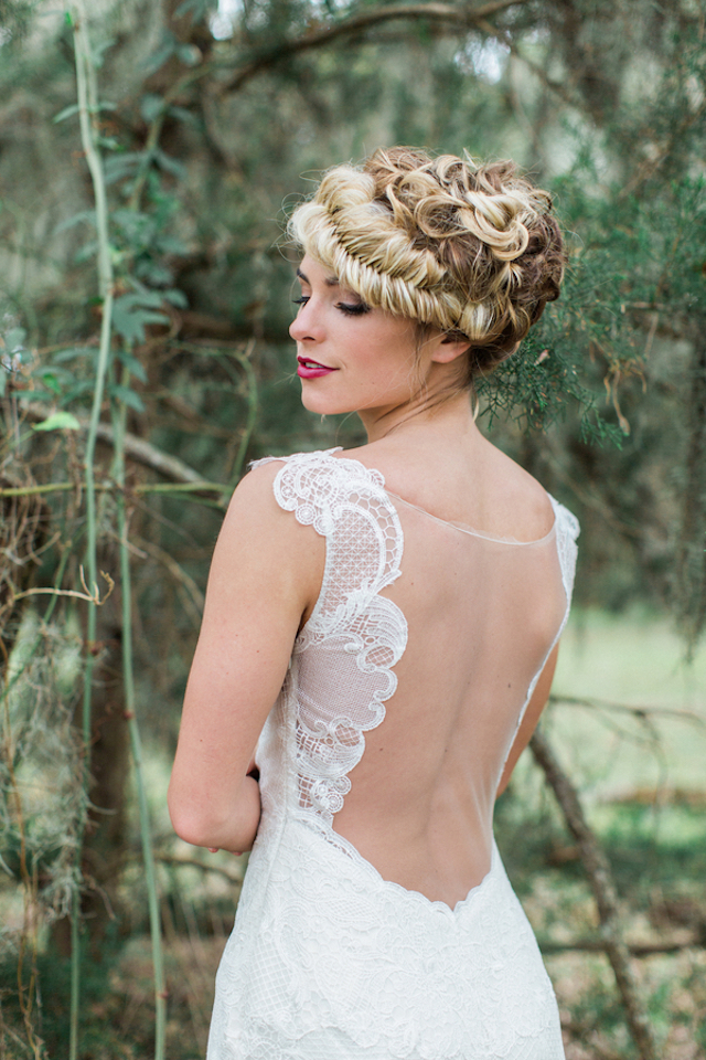 Illusion back wedding dress | Flora + Fauna Photography