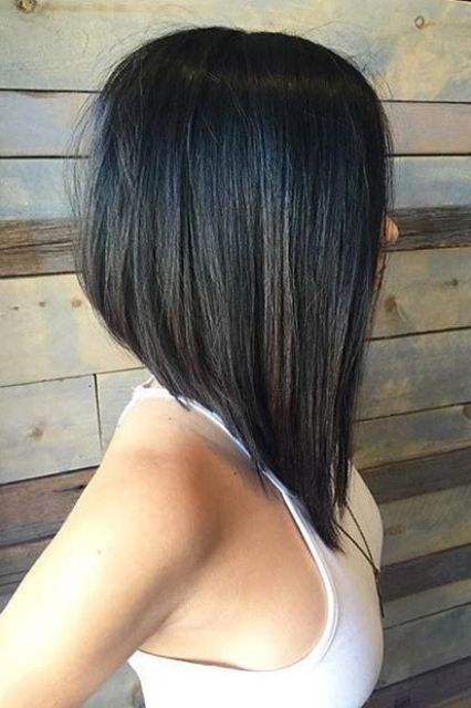 asymmetrical long bob with highlights for texture