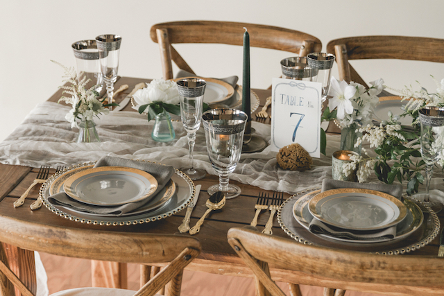 Muted color palette wedding reception tablescape | About Time Photography