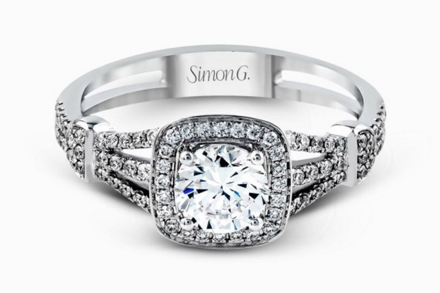 simon g gorgeous diamond engagement ring tr418 round cut cushion halo setting split shank pave