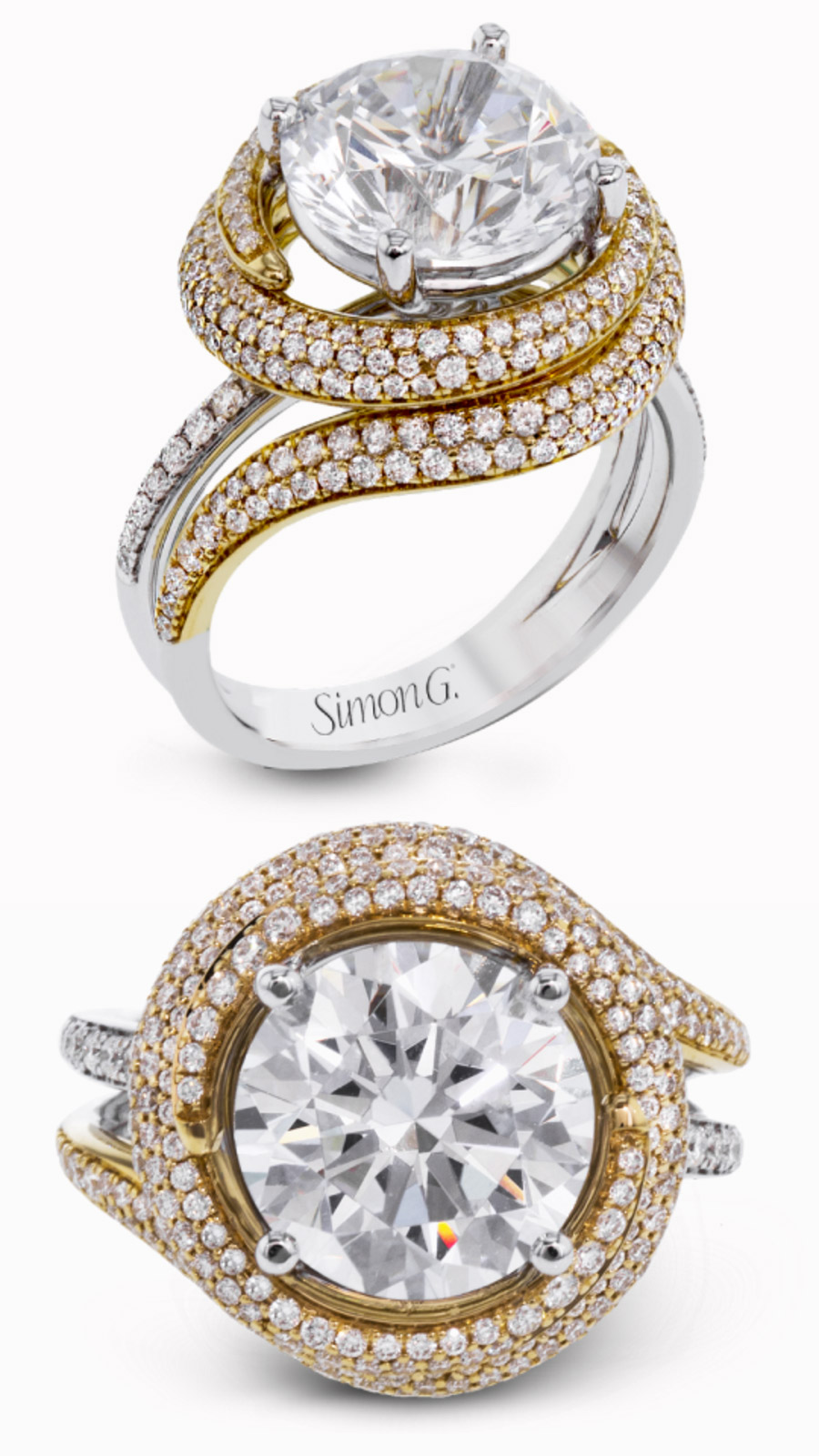 simon g gorgeous diamond engagement ring wedding band set dr373 organic yellow gold halo