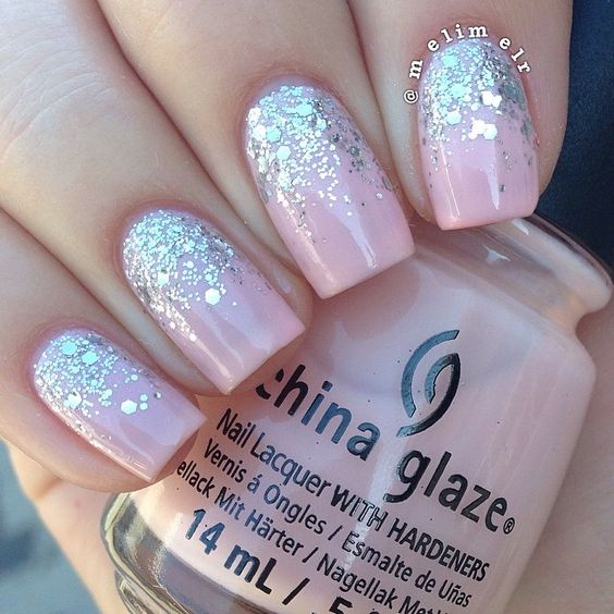 blush nails with glitter at the nail bed
