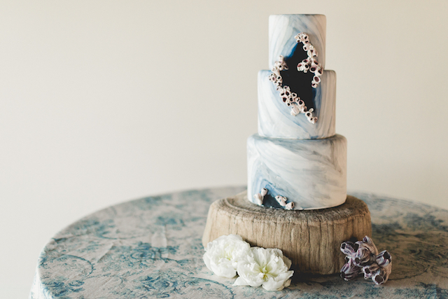 Sea-themed wedding cake with barnacles | About Time Photography