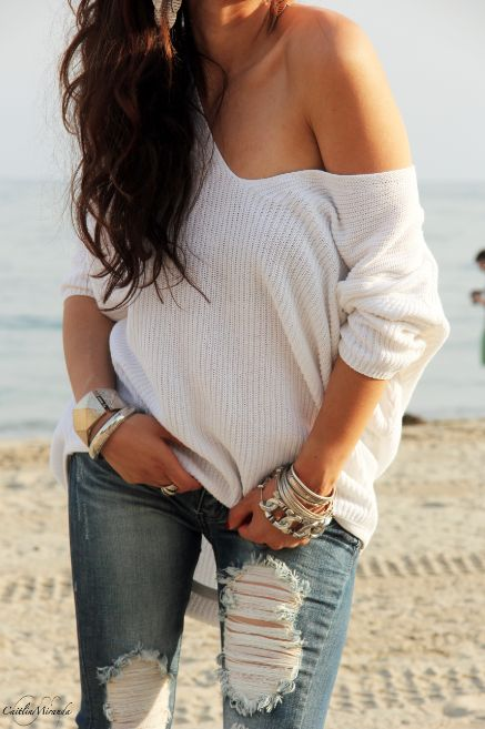 distressed denim and a white off the shoulder sweater