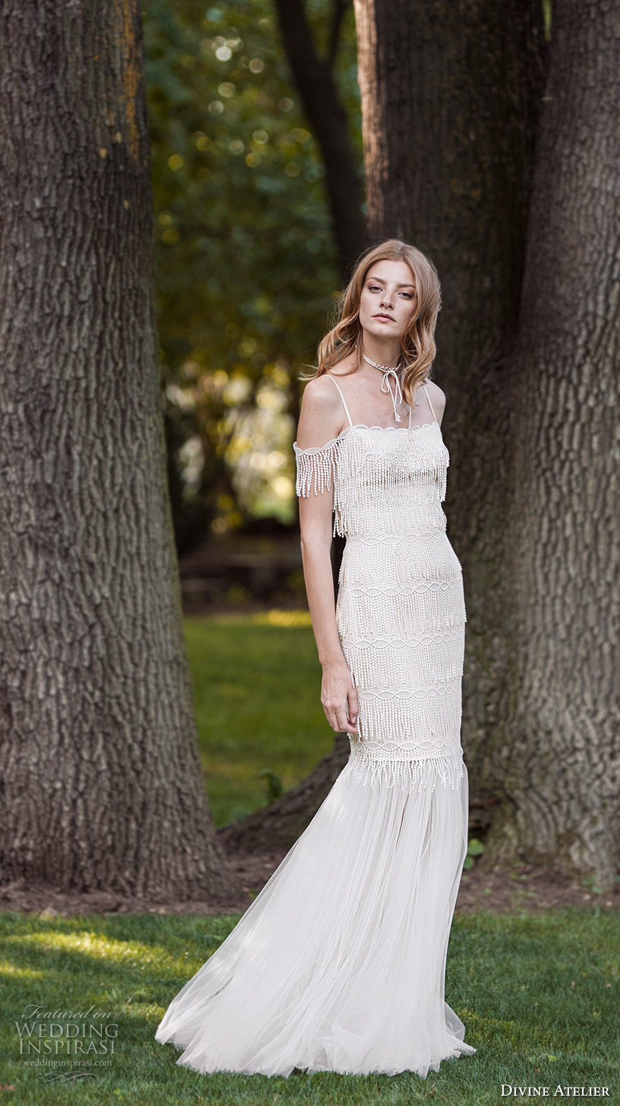 divine atelier 2017 bridal spagetti strap off the shoulder straight neckline heavily embellished bodice tulle skirt elegant fit and flare wedding dress (unnamed12a) mv