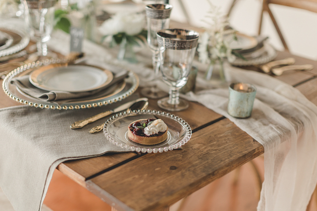 Farm table wedding reception table runner and tabletop details | About Time Photography