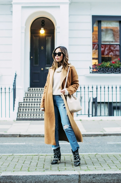 With midi camel coat and printed boots
