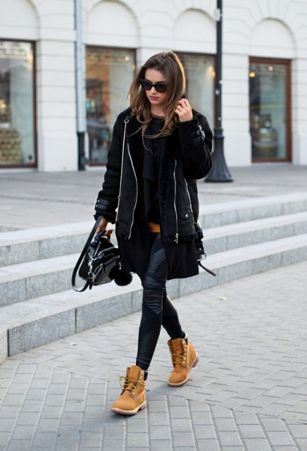 With leggings and black mini coat