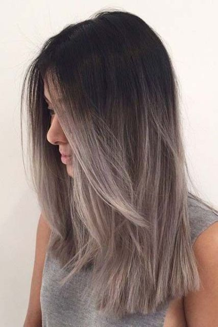 ombre hair from black to grey