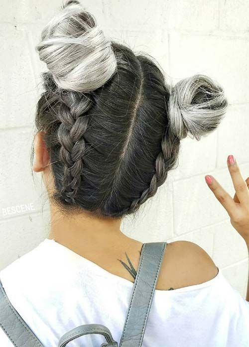 ombre hair from dark to light grey