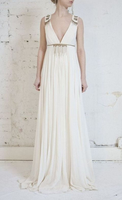 flowing V-neck gown with embellishments