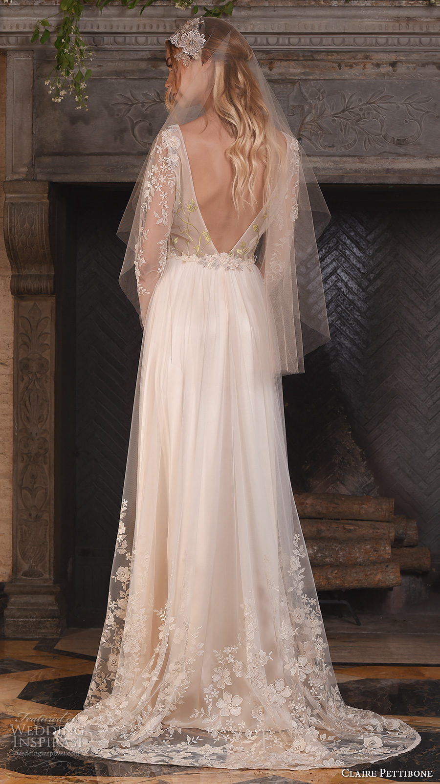 claire pettibone fall 2017 bridal long sleeves v neck heavily embellished bodice floral embroidery sheer modified a line wedding dress low back sweep train (primavera) bv