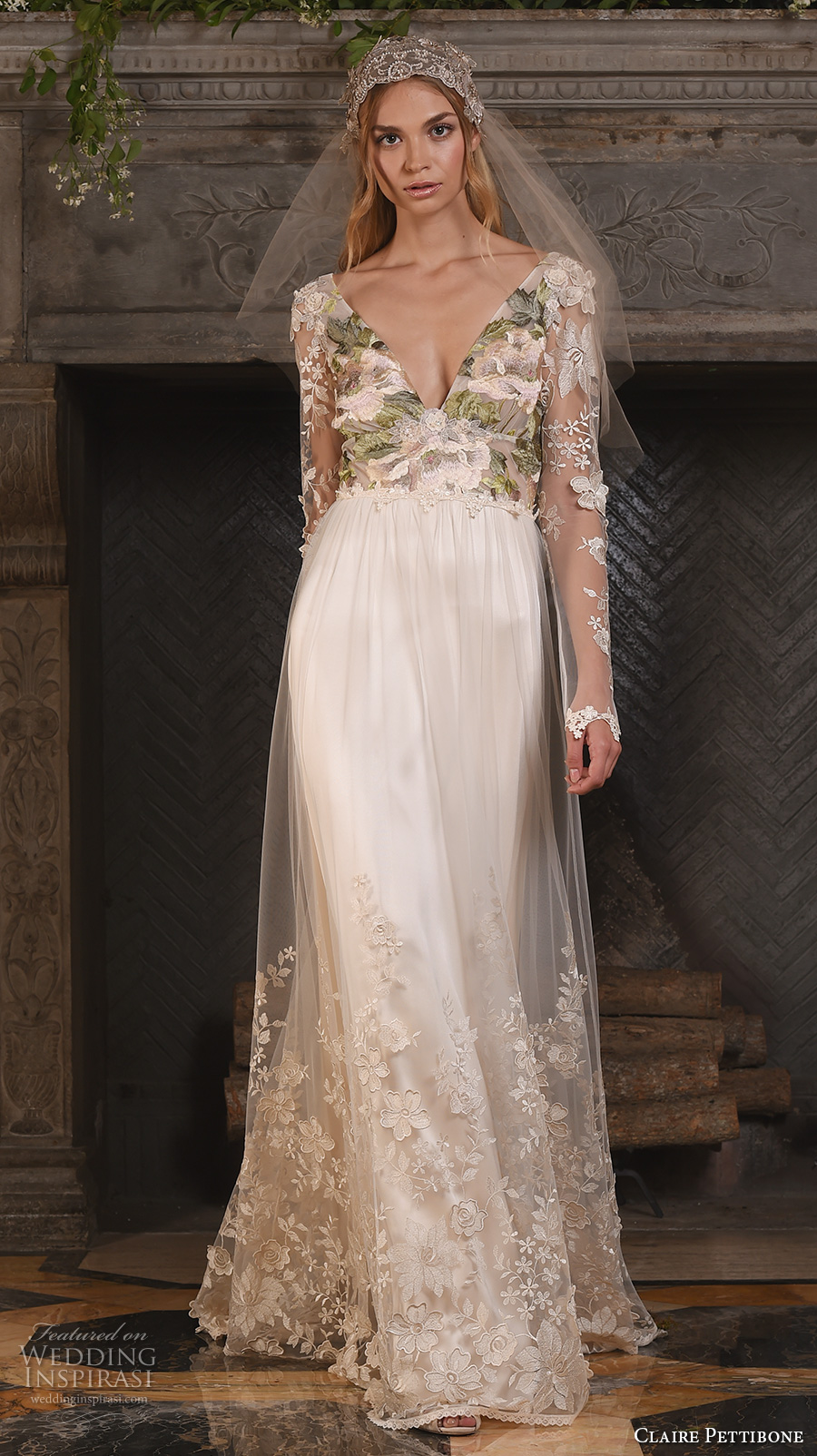 claire pettibone fall 2017 bridal long sleeves v neck heavily embellished bodice floral embroidery sheer modified a line wedding dress low back sweep train (primavera) mv