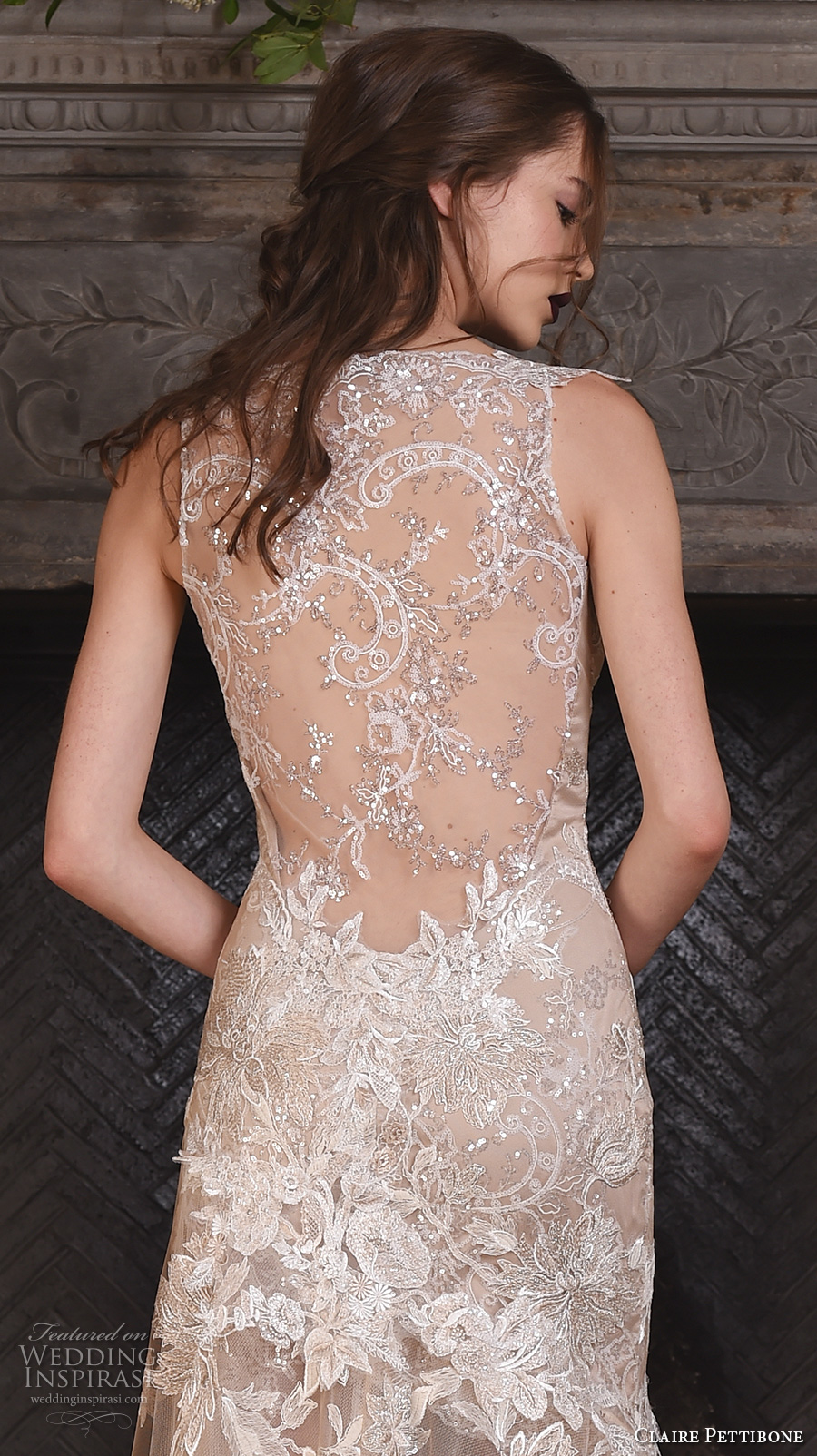 claire pettibone fall 2017 bridal sleeveless strap v neck full embellishment beautiful ivory color fit and flare mermaid wedding dress illusion lace back sweep train (noel) zbv