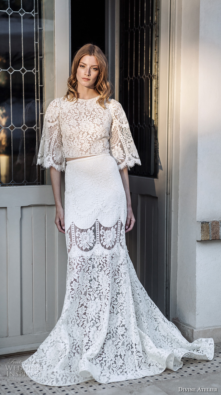 divine atelier 2017 bridal half bell sleeves round neck heavily embellished bodice crop top elegant bohemian trumpet wedding dress sweep train (unnamed14) mv