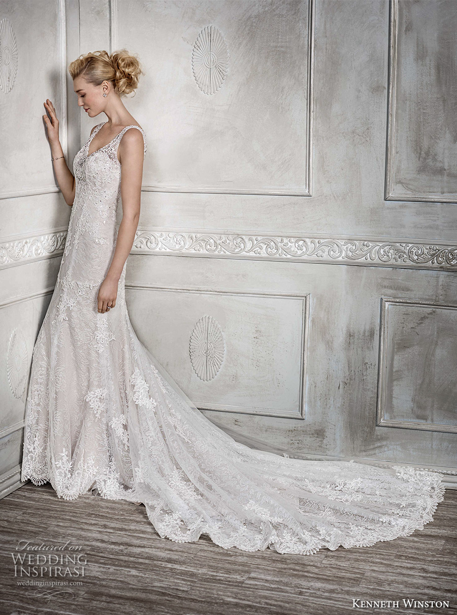 kenneth winston fall 2016 bridal sleeveless embroidered strap sweetheart neckline full embellishment beautiful elegant fit and flare wedding dress low back long train (1670) mv