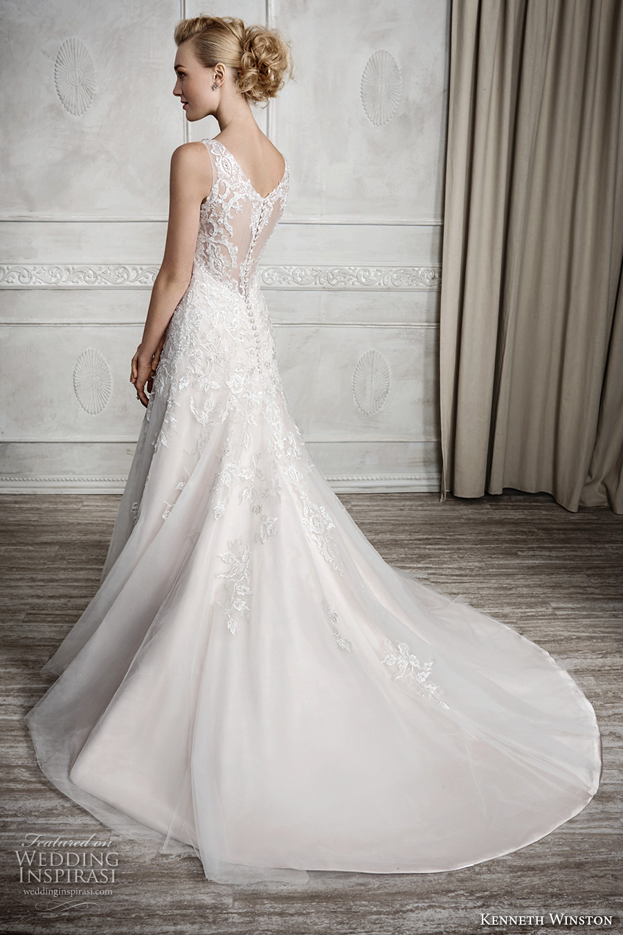 kenneth winston fall 2016 bridal sleeveless thick lace strap v neck heavily embellished bodice beautiful elegant a line wedding dress sheer lace back chapel train (1668) bv