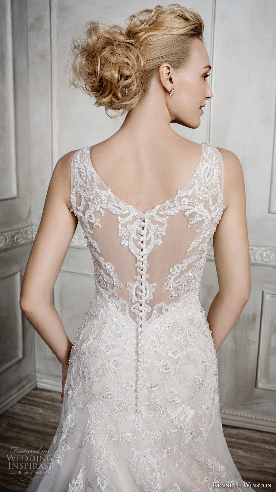 kenneth winston fall 2016 bridal sleeveless thick lace strap v neck heavily embellished bodice beautiful elegant a line wedding dress sheer lace back chapel train (1668) zbv