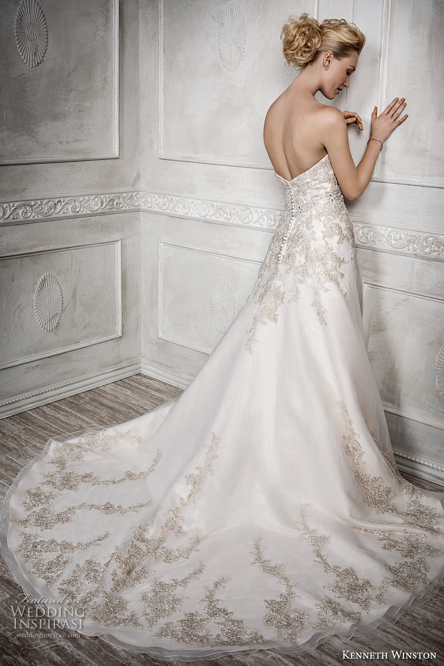 kenneth winston fall 2016 bridal strapless semi sweetheart neckline gold embroidery heavily embellished bodice gorgeous princess beautiful a line wedding dress chapel train (1669) bv